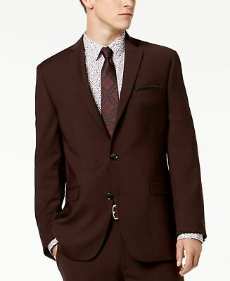 Bar III Mens Suit Burgundy Red 38 Long Blazer Jacket Two Button Wool $165 #112