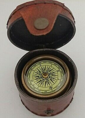 Brass Compass With Leather Case. 3 Inch Diameter.