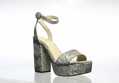 Nine West Womens Krewl Gray Ankle Strap Heels Size 8.5 (718346)