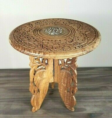 "Vintage Made in India Sheesham wood hand carved table bone inlay 12"" Folding"