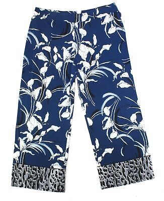 Alfani Women's Blue Size 2X Plus Floral Print Wide Leg Pants Stretch $69 #257