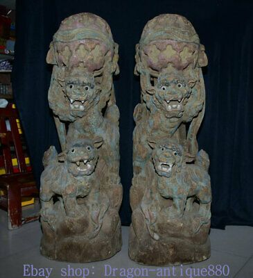 """39.2"""" Old Chinese Wood Hand Carved Fengshui Foo Fu Dog Guardion Lion Statue Pair"""