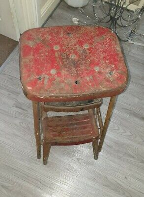 Antique Mid Century Industrial Factory Ladder Stool