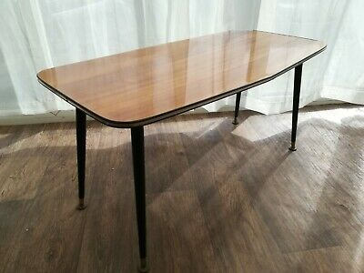 Retro Teak Effect  Coffee Table Dansette Legs   Mid Century  Furniture Delivery