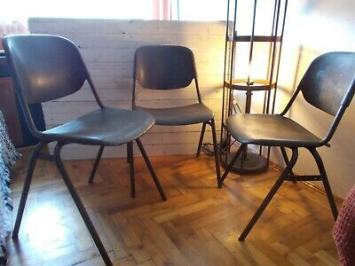 Industrial,loft,factory chair or school chair,1960s.Design by Helmut Starke.3pcs