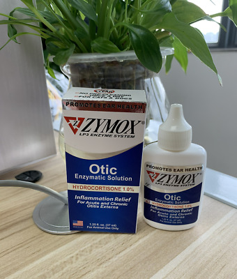 Zymox Otic with Hydrocortisone 1% Ear Drops Ear Solution for Dogs Cats 1.25 oz