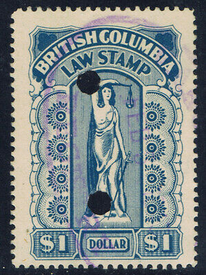 Canada #BCL31(4) 1912 $1.00 blue BRITISH COLUMBIA LAW STAMP Punch Cancelled
