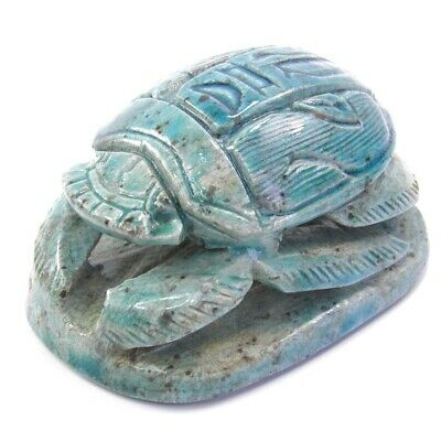 Antique Egyptian ceramic scarab turquoise glazed desk ornament seal paperweight