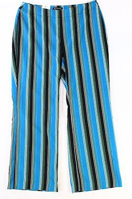 INC Women's Pants Blue Black Size 18W Plus Stretch Striped Wide Leg $89 #112