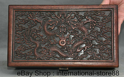 "10.4"" Old Chinese Huanghuali Wood Carving Dragon Furniture Small Jewelry Box"