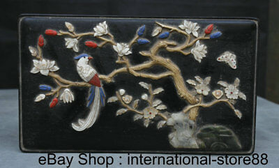 """11"""" Old Chinese Ebony inlay Shell Palace Parrot Flower Butterfly Jewelry Box"""
