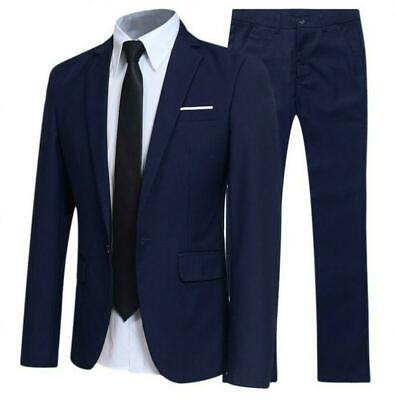 Mens Long sleeve Work Professional Slim suit Blazer jackets pants 2 piece 2019