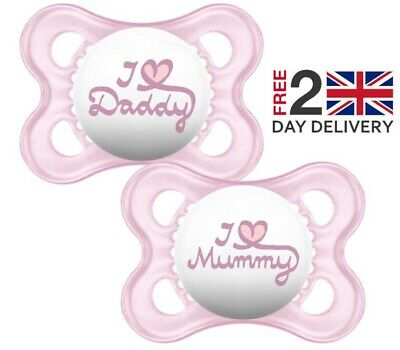 Mam Style I Love Mummy And Daddy Soother Pacifier Dummy For 0 Months Pink 2 Pack
