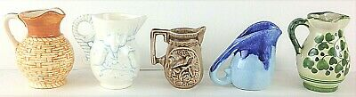 Lot of 5 Miniature Small Collectible Ceramic Pottery Pitchers