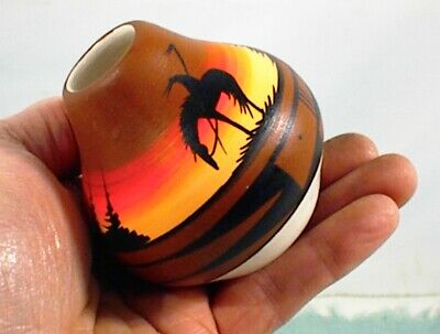 Vintage Southwestern Small Hand Painted Pottery Vase Pot Mexican Horse Trees
