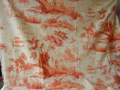 An Exquisite Large Burnt Orange Chinoiserie Fabric Panel