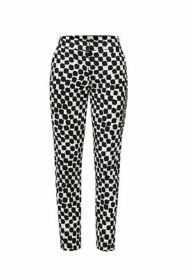 Trina Turk White Black Women's Small S Printed Stretch Slim Trousers $276 #550