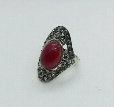 Rare Ancient Old RING Roman Metal Legion Old Red Stone Authentic Artifact