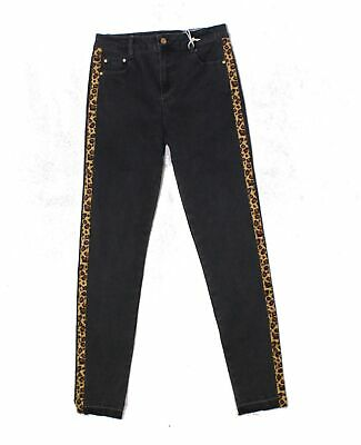 Tractr Black Size 16 Girl's Leopard Print High Rise Skinny Jeans $42 #231