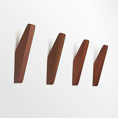 Mid-Century Coat Hooks Modern Teak Wood Wall (Set Of 4) Office Products