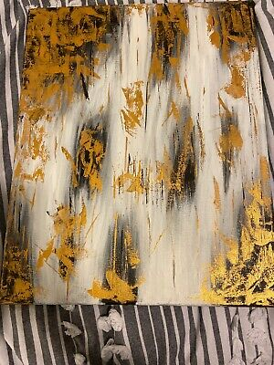 Abstract Painting Black, White, Gold. One piece Only Limited. Not Framed