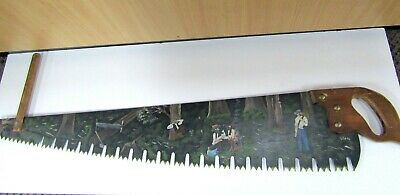 """Hand Painted Cross Cut Saw """"The Logging Camp"""" Signed Trish '94"""