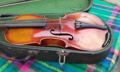 Antique Violin with Bow & case.