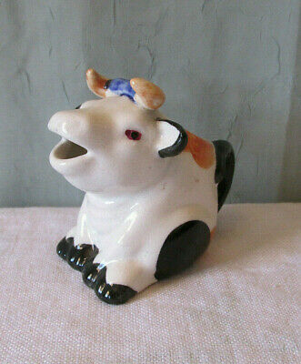"""Vintage Sitting Cow Creamer:  3"""" Tall, Made in Japan"""