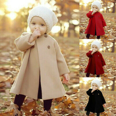 Autumn Winter Girls Kids Baby Outwear Cloak Button Jacket Warm Coat Clothes AU