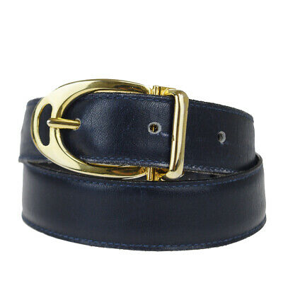 Authentic GUCCI GG Logo Buckle Belt Leather Navy Blue Gold Accessory 08EZ285
