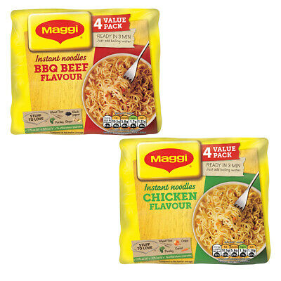 Maggi 3 Minute Instant BBQ Beef Or Chicken Flavour Noodles 4x59g Flavour Sachet