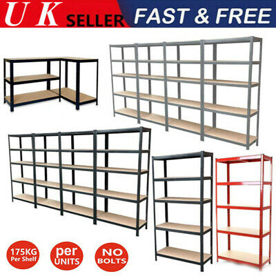 Garage Shed 5 Tiers Racking Storage Shelving Units Boltless Heavy Duty Shelves