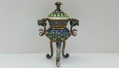 Fine Antique Chinese Enameled Silver Insence Burner Rare Old Vtg Asian Censor
