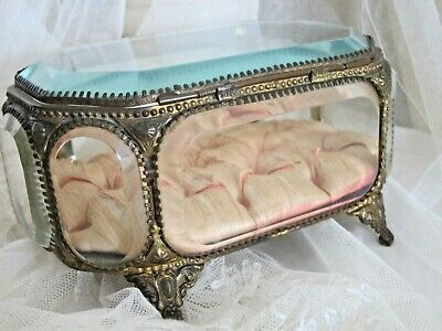 19th Century French Bevelled Glass Casket/ 18cms long
