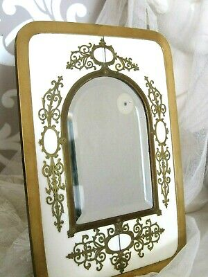 19th Century French Bevelled Glass & Brass Framed Mirror