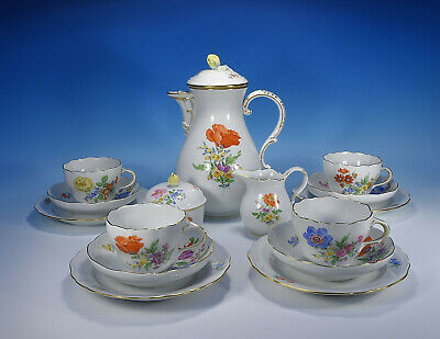 "Meissen "" Flower 3 Coffee Service for 4 People"