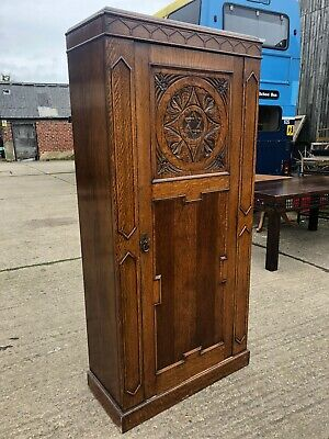 Antique Arts Crafts Oak Carved Hall Coat Wardrobe Hall Umbrella Star Of David
