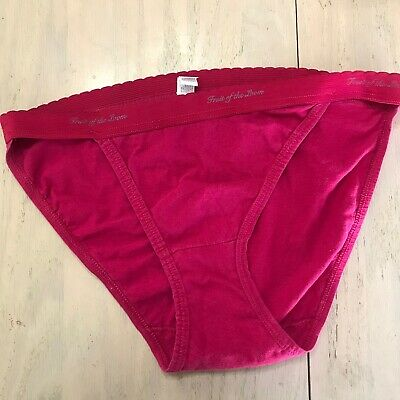 Vtg Fruit of the Loom String Bikini Panty Waistband Cotton Berry Color Size 5