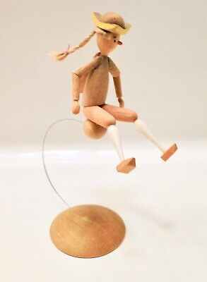 Miniature Erzgebirge Carved Wood BOUNCING MAN on BALL Figurine ~Great Details~