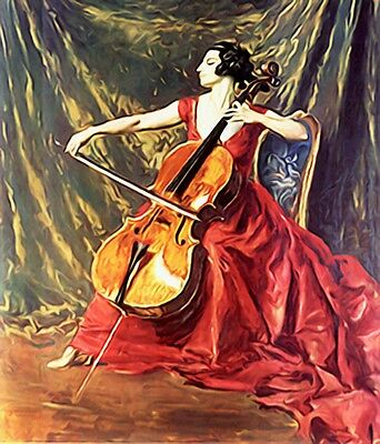 "perfect oil painting handpainted on canvas ""A woman playing the violin""NO2325"