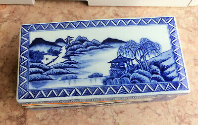 Vintage CHINESE   PORCELAIN   SECTIONED  COVERED    BOX