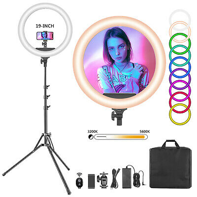 Neewer 19-inch RGB LED Ring Light with Stand, 60W Dimmable Bi-Color 3200K-5600K