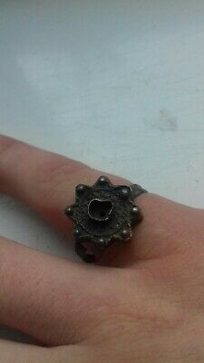 Ancient Byzantine Silver Filigree Ring With A Crown