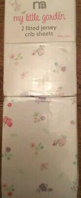 Mothercare My Little Garden Pack Of 2 Jersey Fitted Crib Sheets 🌟🌟 BNIP 🌟🌟