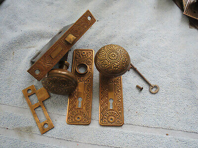 Antique Eastlake Victorian Decorated Bronze Door Knob Set w/ Mortise Lock & Key