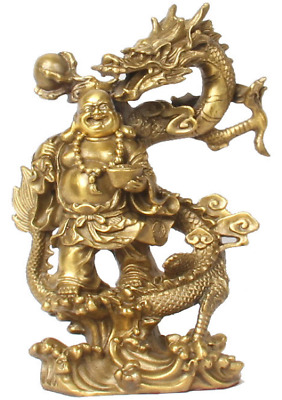 Chinese Fengshui Bronze Warrior God Buddha Stand on Dragon fengshui Statue