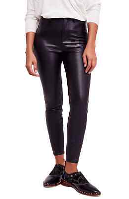 Free People Women's Pants Black Size 30X28 Faux-Leather Skinny Stretch $78 #619