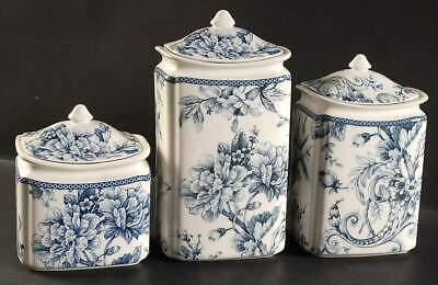 222 Fifth ADELAIDE BLUE & WHITE 3 Piece Canister Set 10081341