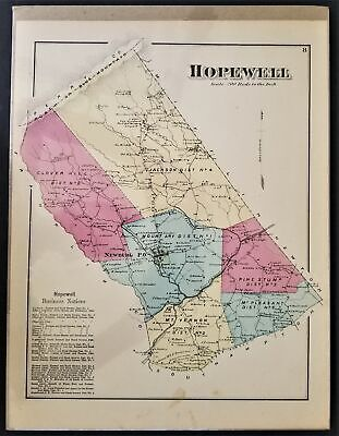 1872 antique HOPEWELL PA MAP cumberland atlas Clover Hill Jackson Pleasant beers