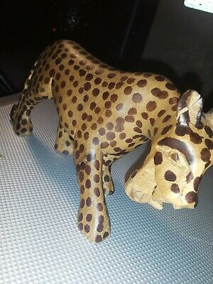 "Hand Carved Wooden Leopard Figurine 3.75"" ×  6"" Hand Painted Art"